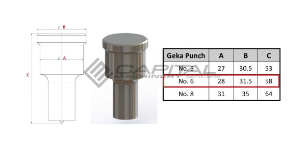No. 6 Round Punch For Geka Iron Worker
