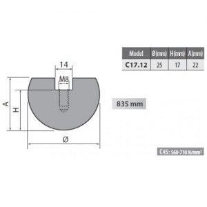 c17 12 rolleri radius top tool 12.5mm radius