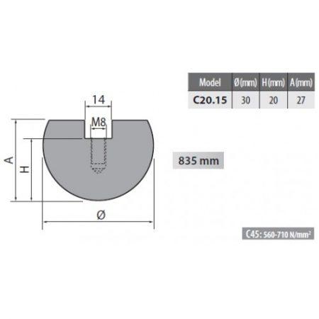 c20 15 rolleri radius top tool 15mm radius