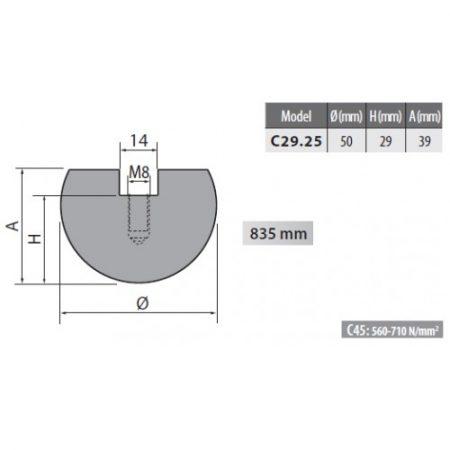 c29 25 rolleri radius top tool 25mm radius