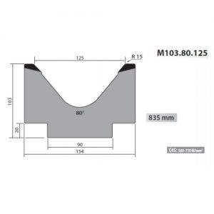 m103 80 125 rolleri single vee die 125mm vee 80 degree 103mm h