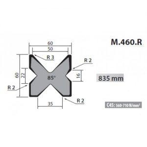 m460 r rolleri multi vee die 16 22 35 50mm vee 85 degree 835mm long
