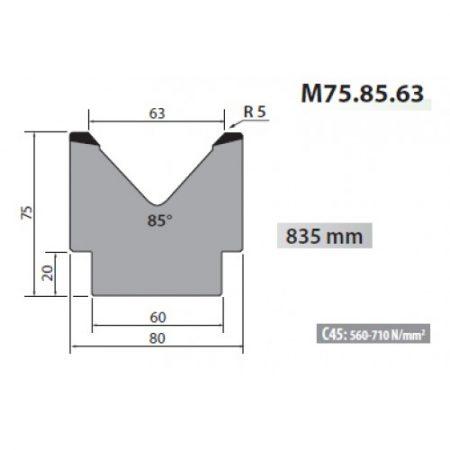m75 85 63 rolleri single vee die 63mm vee 85 degree 75mm h