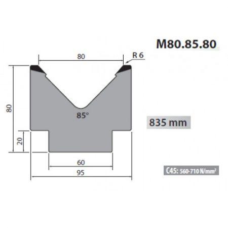 m80 85 80 rolleri single vee die 80mm vee 85 degree 80mm h