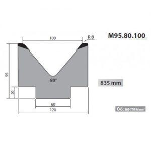 m95 80 100 rolleri single vee die 100mm vee 80 degree 95mm high