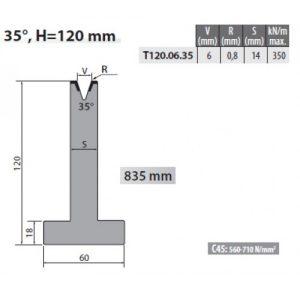 t120 06 35 rolleri single vee die 6mm vee 35 degree 120mm h