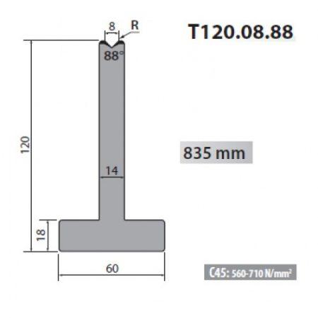 t120 08 88 rolleri single vee die 8mm vee 88 degree 120mm h
