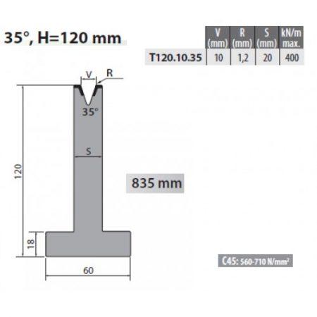 t120 10 35 rolleri single vee die 10mm vee 35 degree 120mm h