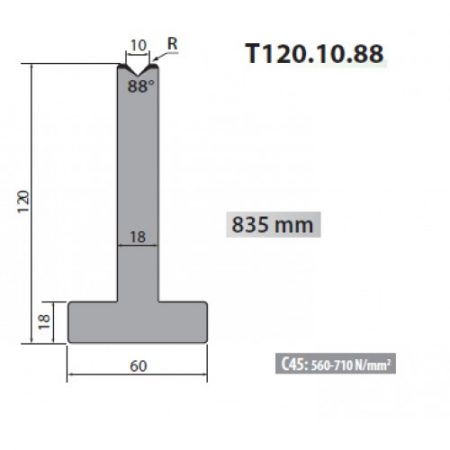 t120 10 88 rolleri single vee die 10mm vee 88 degree 120mm h