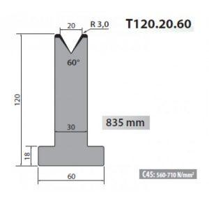 t120 20 60 rolleri single vee die 20mm vee 60 degree 120mm h