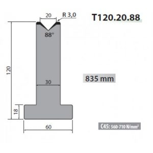t120 20 88 rolleri single vee die 20mm vee 88 degree 120mm h
