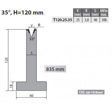 t120 25 35 rolleri single vee die 25mm vee 35 degree 120mm h