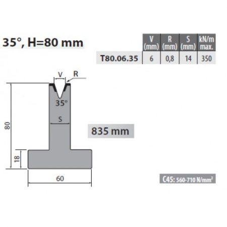 t80 06 35 rolleri single vee die 6mm vee 35 degree 80mm h