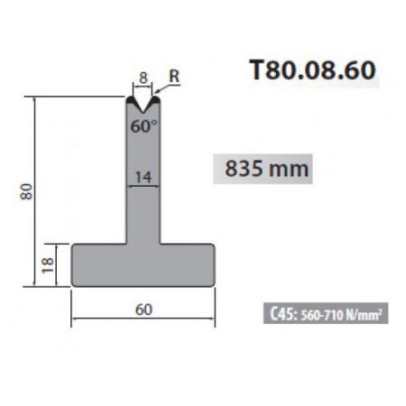 t80 08 60 rolleri single vee die 8mm vee 60 degree 80mm h