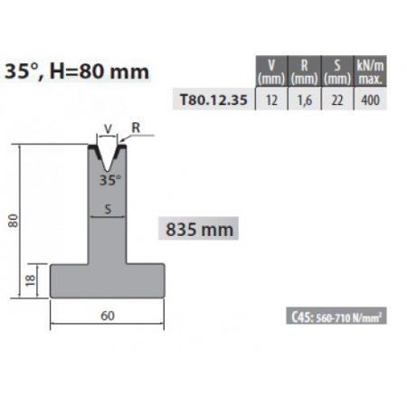 T80 12 35 Rolleri Single Vee Die 12mm Vee 35 Degree 80mm H 2