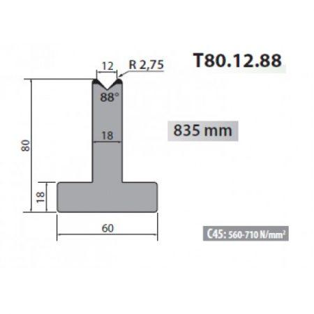 T80 12 88 Rolleri Single Vee Die 12mm Vee 88 Degree 80mm H