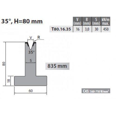 t80 16 35 rolleri single vee die 16mm vee 35 degree 80mm h