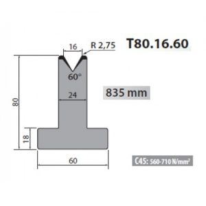 t80 16 60 rolleri single vee die 16mm vee 60 degree 80mm h