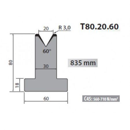 t80 20 60 rolleri single vee die 20mm vee 60 degree 80mm h