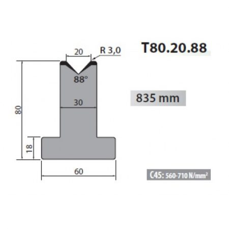 t80 20 88 rolleri single vee die 20mm vee 88 degree 80mm h