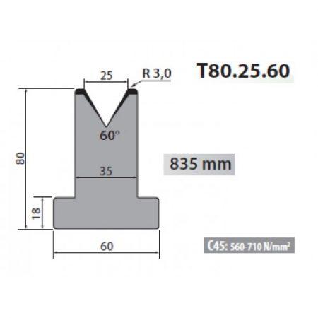 t80 25 60 rolleri single vee die 25mm vee 60 degree 80mm h