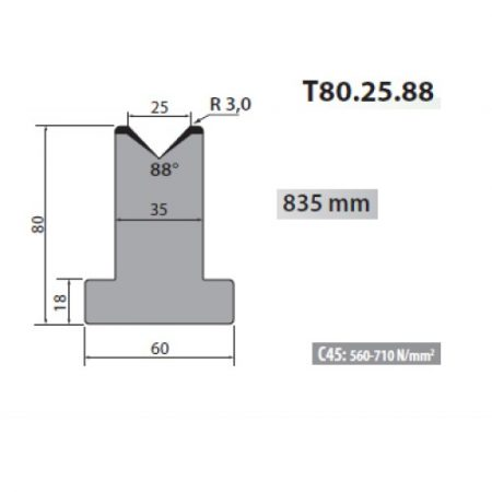 t80 25 88 rolleri single vee die 25mm vee 88 degree 80mm h