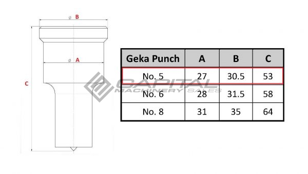 No. 5 Elongated Punch For Geka Iron Worker 2