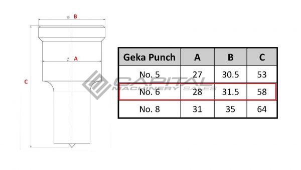 No. 6 Elongated Punch For Geka Iron Worker 2