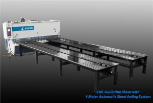 inanlar 3000 x 10mm cnc hydraulic guillotine shear with 6 meter front arms and special feeding system