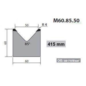 M60 85 50 Rolleri Single Vee Die 50mm Vee 85 Degree 60mm H 415mm