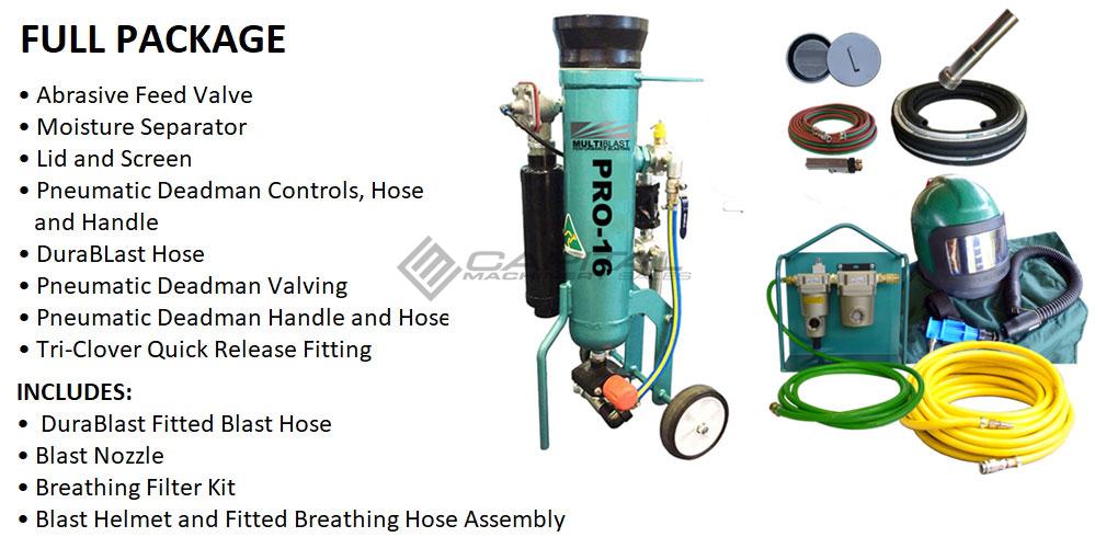 Multiblast Pro16 7 Litre Blasting Pot Machine Full Package Features