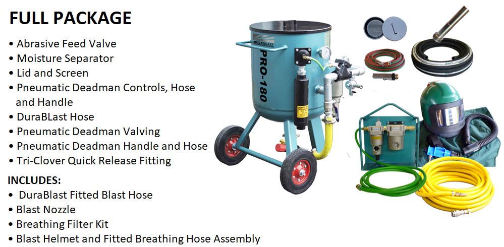 Multiblast Pro180 80 Litre Blast Pot Machine Full Package Features
