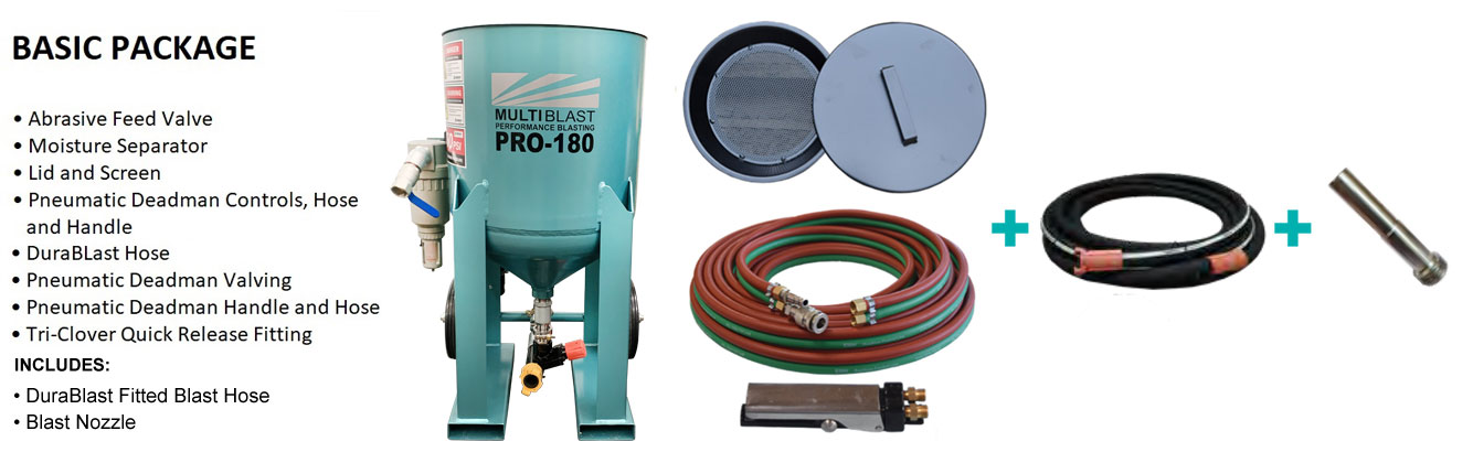 Multiblast Pro180 80 Litre Blasting Pot Machine Basic Package B Features 2021