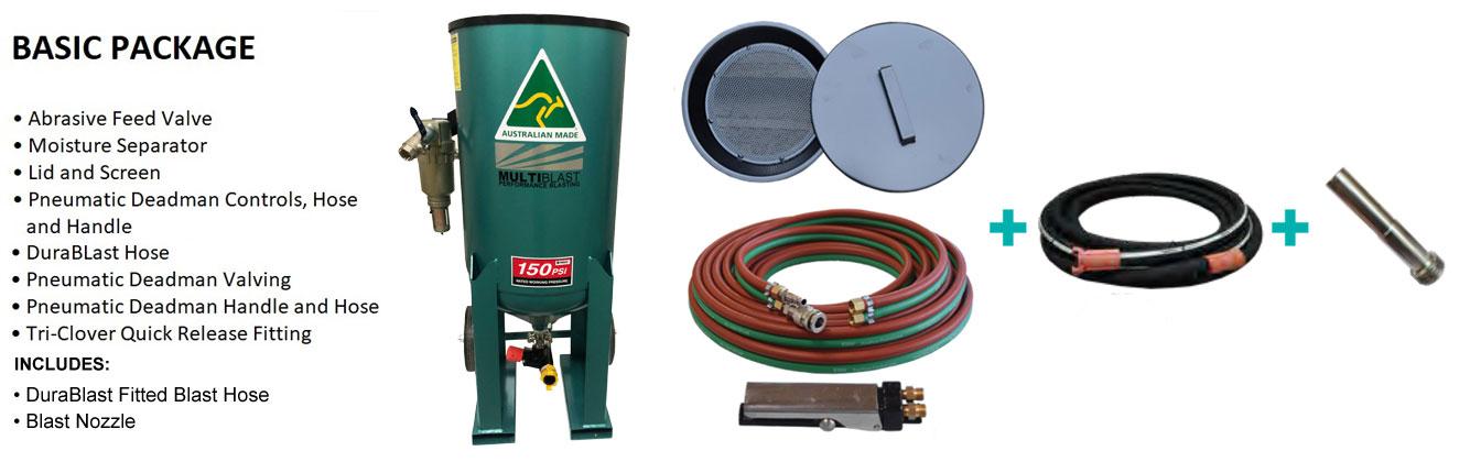 Multiblast Pro320 140 Litre Blasting Pot Machine Basic Package B Features April 2021