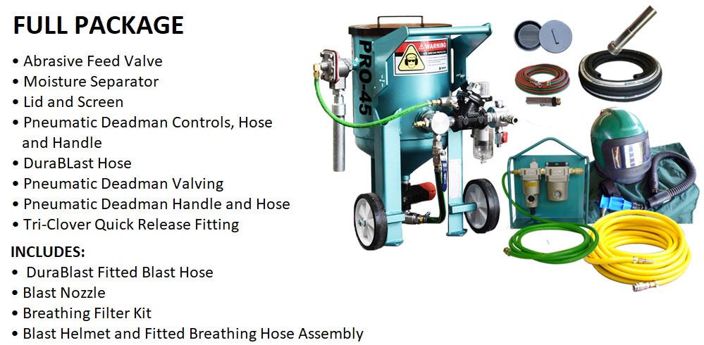 Multiblast Pro45 20 Litre Sandblasting Pot Machine Full Package Features