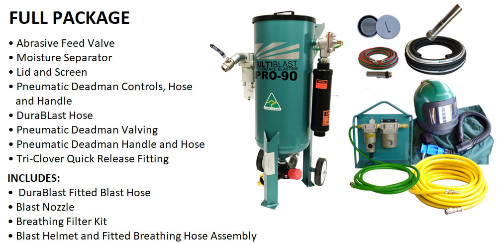 Multiblast Pro90 40 Litre Pressure Pot Sandblaster Equipment Full Package Features