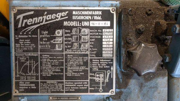 Used Trennjaeger High Speed Circular Metal Saw Ts01 006