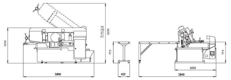Brobo Par350m Fully Automatic Miter Bandsaw Machine Dimension