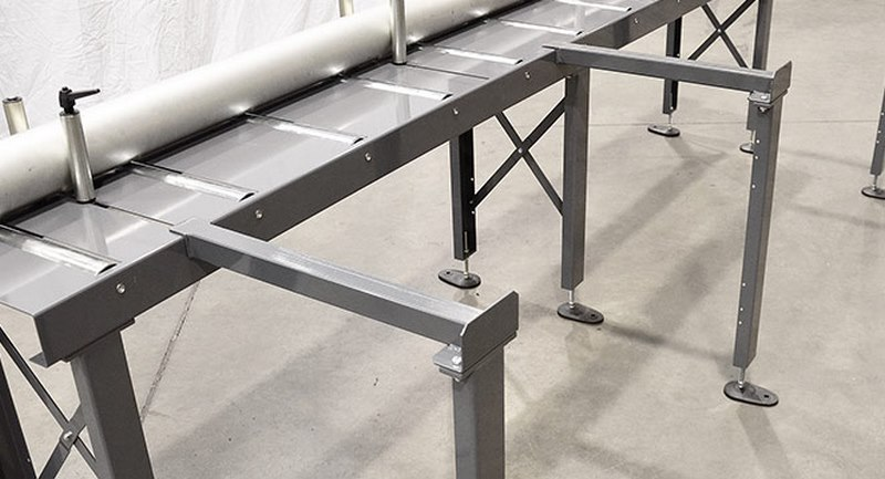 Bomar Type T Saw Roller Conveyor Material Handling System Legs For Material Preparation
