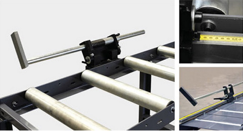 Bomar Type T Saw Roller Conveyor Material Handling System Ta Manual Material Length Stop With Band Scale