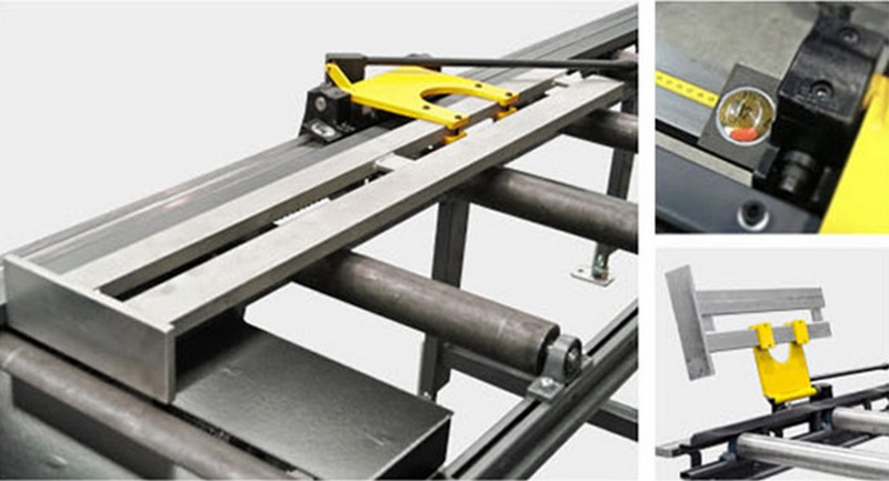 Bomar Type X Saw Roller Conveyor Material Handling System Xa Manual Material Length Stop With Band Scale
