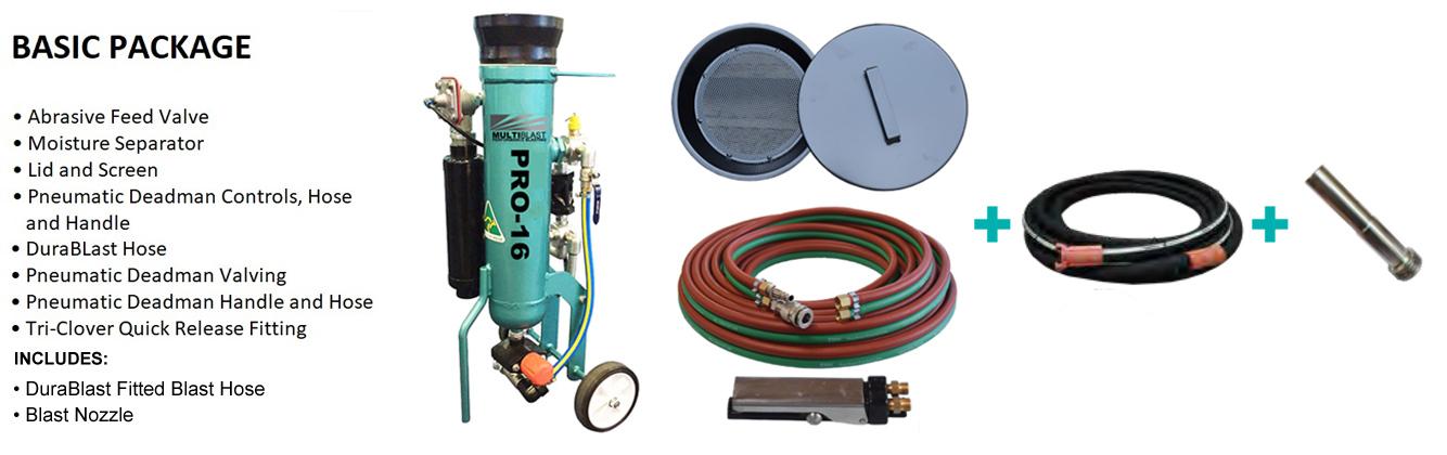Multiblast Pro16 7 Litre Blasting Pot Machine Basic Package B Features