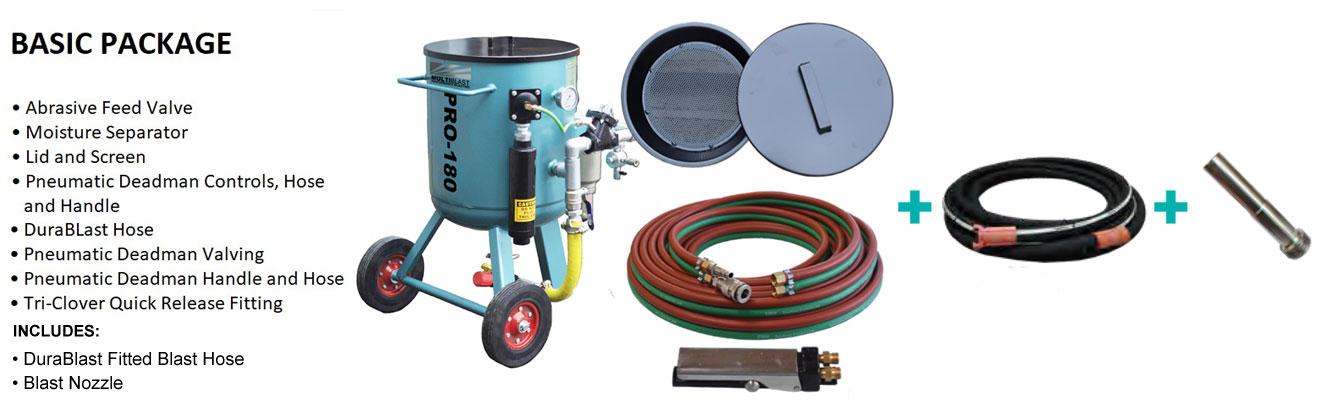 Multiblast Pro180 80 Litre Blasting Pot Machine Basic Package B Features