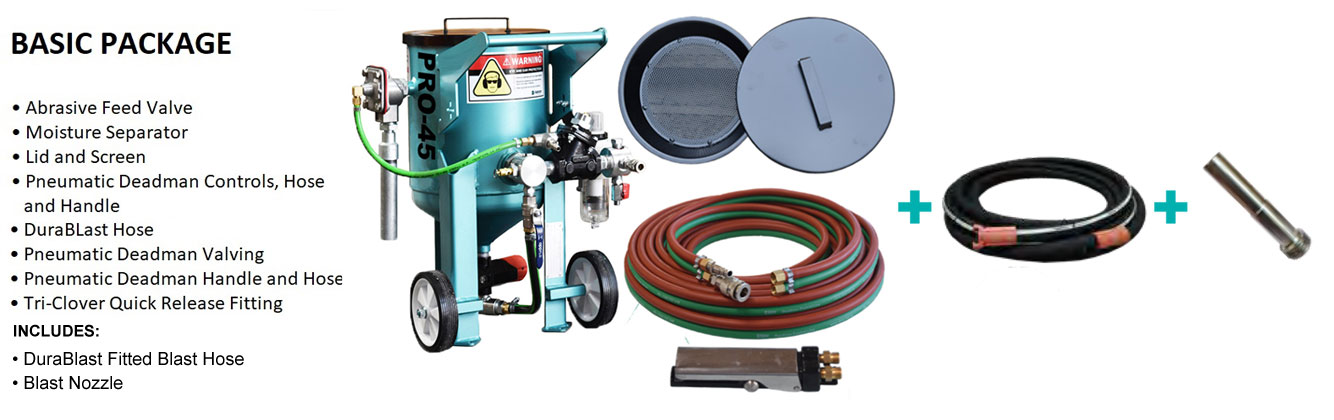 Multiblast Pro45 20 Litre Blasting Pot Machine Basic Package B Features