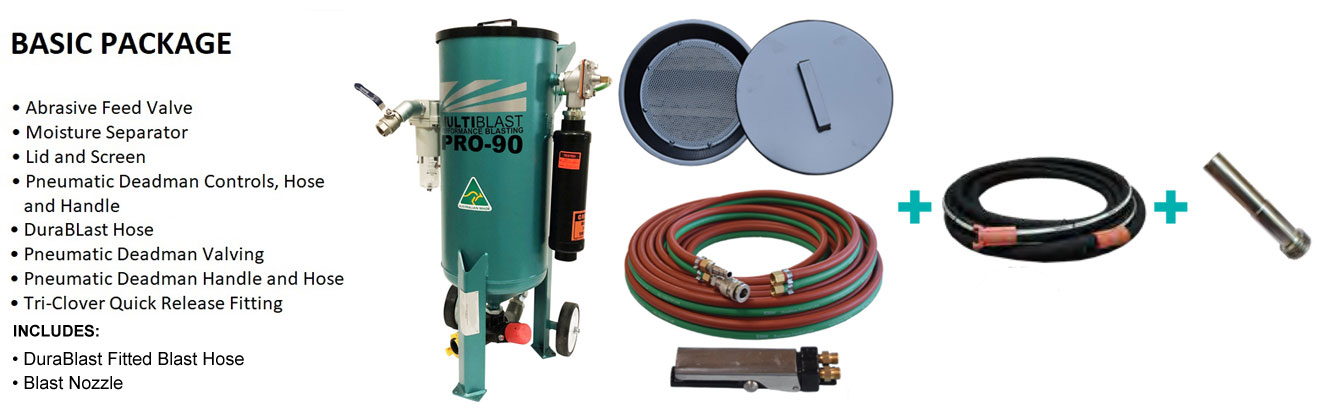 Multiblast Pro90 45 Litre Blasting Pot Machine Basic Package B Features