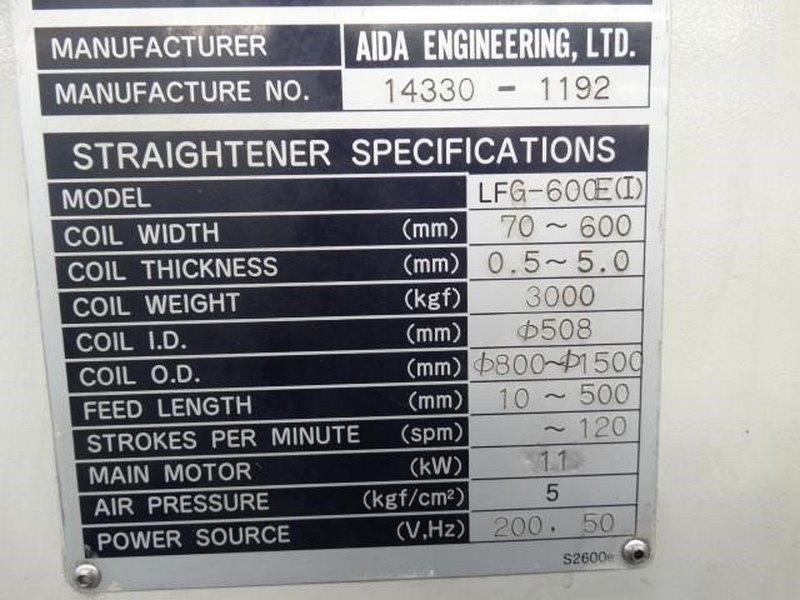 Aida Coil Straightening Machine Model Lfg 600ei Capacity 3000kg Coil Width 70 600mm Coil Thickness 0 5 5mm 5